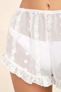 Sleeping In Sheer White Embroidered Shorts 6