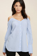 Work From Home Light Blue Button-Up Off-the-Shoulder Top 1