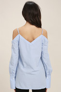 Work From Home Light Blue Button-Up Off-the-Shoulder Top 4