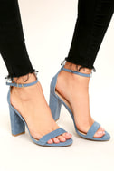 Taylor Blue Suede Ankle Strap Heels 1
