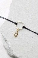 Zephyr Black and Gold Choker Necklace 3
