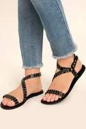 Amuse Society x Matisse Rock Muse Black Leather Studded Sandals 2