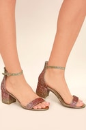 Sorcha Blush Glitter Ankle Strap Heels 2