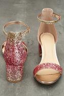 Sorcha Blush Glitter Ankle Strap Heels 3