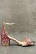 Sorcha Blush Glitter Ankle Strap Heels 4