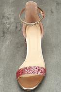 Sorcha Blush Glitter Ankle Strap Heels 5