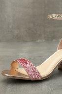 Sorcha Blush Glitter Ankle Strap Heels 6