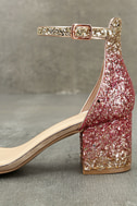 Sorcha Blush Glitter Ankle Strap Heels 7