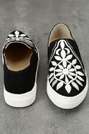 Seychelles Sunshine Black Canvas Embroidered Slip-On Sneakers 3