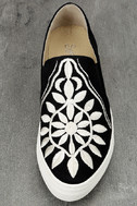 Seychelles Sunshine Black Canvas Embroidered Slip-On Sneakers 5