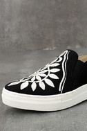 Seychelles Sunshine Black Canvas Embroidered Slip-On Sneakers 6