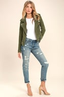 Blank NYC Backhanded Olive Green Suede Leather Moto Jacket 2
