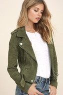 Blank NYC Backhanded Olive Green Suede Leather Moto Jacket 3