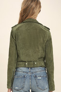 Blank NYC Backhanded Olive Green Suede Leather Moto Jacket 4