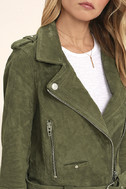 Blank NYC Backhanded Olive Green Suede Leather Moto Jacket 5