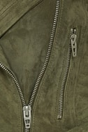 Blank NYC Backhanded Olive Green Suede Leather Moto Jacket 6