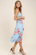 My Finest Flower Periwinkle Blue Floral Print Wrap Dress 2