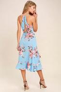 My Finest Flower Periwinkle Blue Floral Print Wrap Dress 3