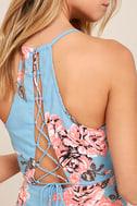 My Finest Flower Periwinkle Blue Floral Print Wrap Dress 5