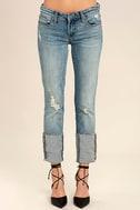 Blank NYC Deep Cuff Straight Medium Wash Distressed Jeans 2