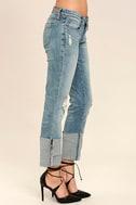 Blank NYC Deep Cuff Straight Medium Wash Distressed Jeans 3