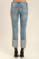 Blank NYC Deep Cuff Straight Medium Wash Distressed Jeans 4
