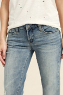 Blank NYC Deep Cuff Straight Medium Wash Distressed Jeans 5