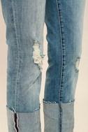 Blank NYC Deep Cuff Straight Medium Wash Distressed Jeans 6