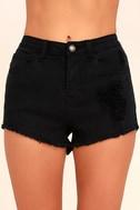 Echo Park Black Distressed Denim Shorts 5