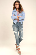 Blank NYC Backhanded Periwinkle Blue Suede Leather Moto Jacket 2