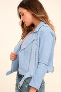 Blank NYC Backhanded Periwinkle Blue Suede Leather Moto Jacket 3
