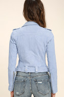 Blank NYC Backhanded Periwinkle Blue Suede Leather Moto Jacket 4