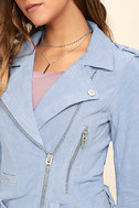 Blank NYC Backhanded Periwinkle Blue Suede Leather Moto Jacket 5