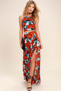 Back to Your Roots Red Floral Print Two-Piece Maxi Dress 1