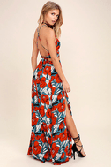 Back to Your Roots Red Floral Print Two-Piece Maxi Dress 2