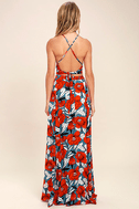 Back to Your Roots Red Floral Print Two-Piece Maxi Dress 3