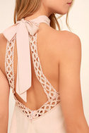 Any Sway, Shape, Or Form Blush Pink Lace Halter Dress 5