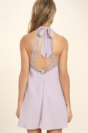 Any Sway, Shape, Or Form Lavender Lace Halter Dress 4