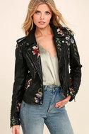 Blank NYC Black Embroidered Vegan Leather Moto Jacket 1