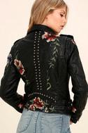 Blank NYC Black Embroidered Vegan Leather Moto Jacket 3