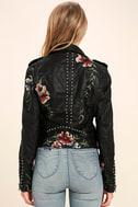 Blank NYC Black Embroidered Vegan Leather Moto Jacket 4