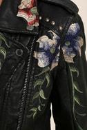 Blank NYC Black Embroidered Vegan Leather Moto Jacket 6