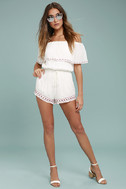Oaxaca Ivory Embroidered Off-the-Shoulder Romper 2