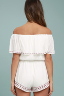 Oaxaca Ivory Embroidered Off-the-Shoulder Romper 4