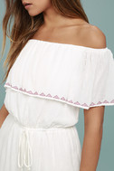 Oaxaca Ivory Embroidered Off-the-Shoulder Romper 5