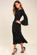 I. Madeline Dashing Diva Black Print Midi Dress 2