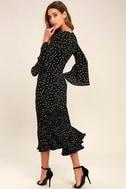 I. Madeline Dashing Diva Black Print Midi Dress 3