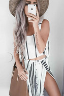 Faithfull the Brand Agios Black and White Striped Crop Top 7