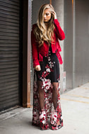 Work the Bloom Wine Red and Black Embroidered Maxi Dress 7