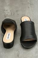 Steve Madden Briele Black Leather Slide Sandals 3